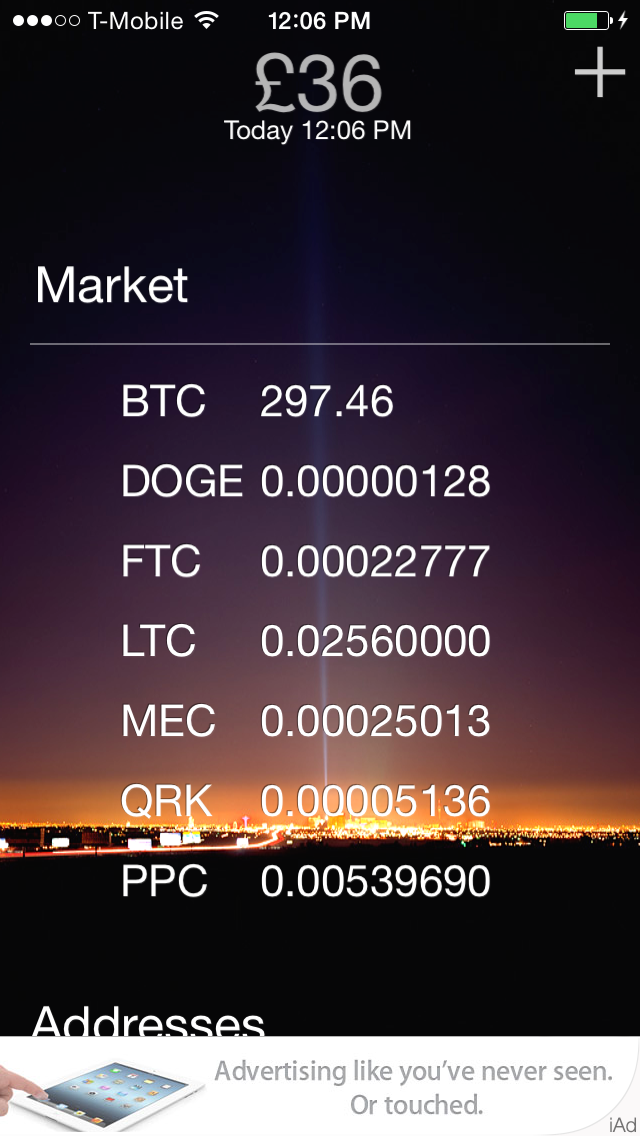 Market rates pulled from Cryptsy.  Tap to toggle to the local currency based on BTC.